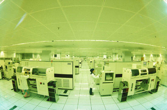 Automated manufacturing at National's Singapore assembly and test facility.